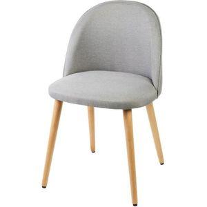 CHAISE MACARON Chaise en tissu gris clair - Pieds en bois