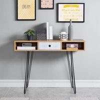 COLETTE Console scandinave décor chêne et imprimé + pieds en métal laqué noir - L 100 cm