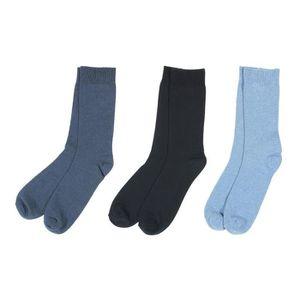 089cc126761 CHAUSSETTES Lot de 3 Paires de Chaussettes Unies Coton Noir et