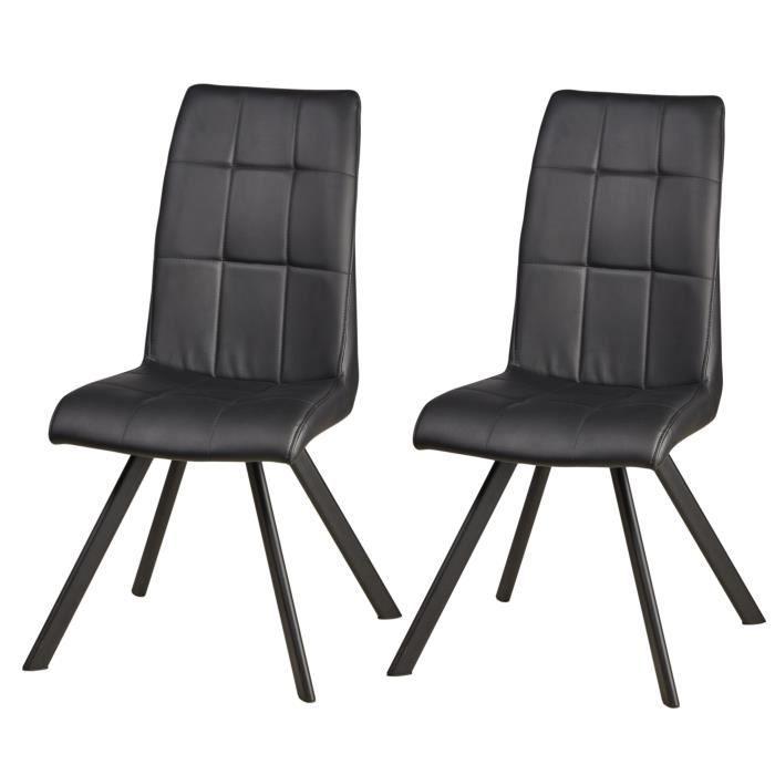 COCOON Lot de 2 chaises de salle à manger - Simili noir - Style  contemporain - L 44 x P 43 cm d19d7feb5695
