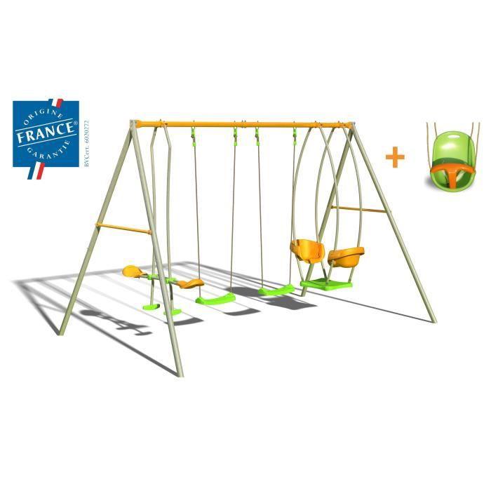 balancoire portique amca portique m tal 2 20 m quip 4 agr s 1 gratuit 6 enfants. Black Bedroom Furniture Sets. Home Design Ideas