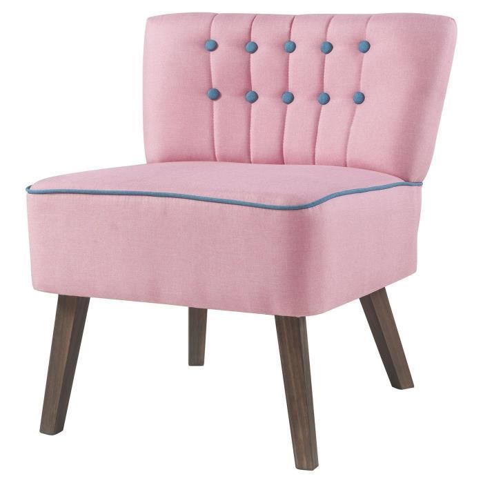 stanford fauteuil crapaud tissu rose boutons bleu - Fauteuil Chambre