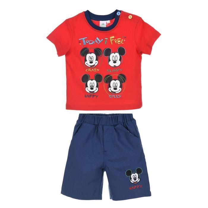 Ensemble de vêtements MICKEY Ensemble Rouge T-shirt + Short Sérigraphié