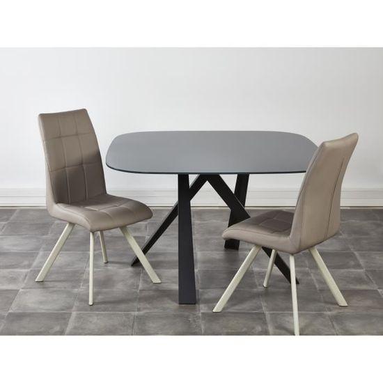 COCOON Lot de 2 chaises de salle à manger - Simili taupe - Style  contemporain - L 44 x P 43 cm - Achat   Vente chaise - Cdiscount 504288433577