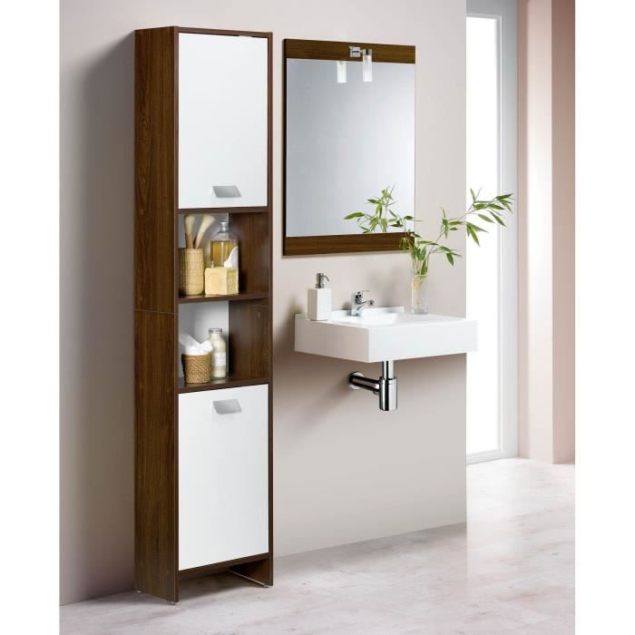 TOP Colonne de salle de bain L 40 cm - Décor wengé et blanc mat ...