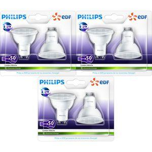 philips lot de 6 ampoules spot gu10 led 50w en partenariat avec edf achat vente ampoule. Black Bedroom Furniture Sets. Home Design Ideas