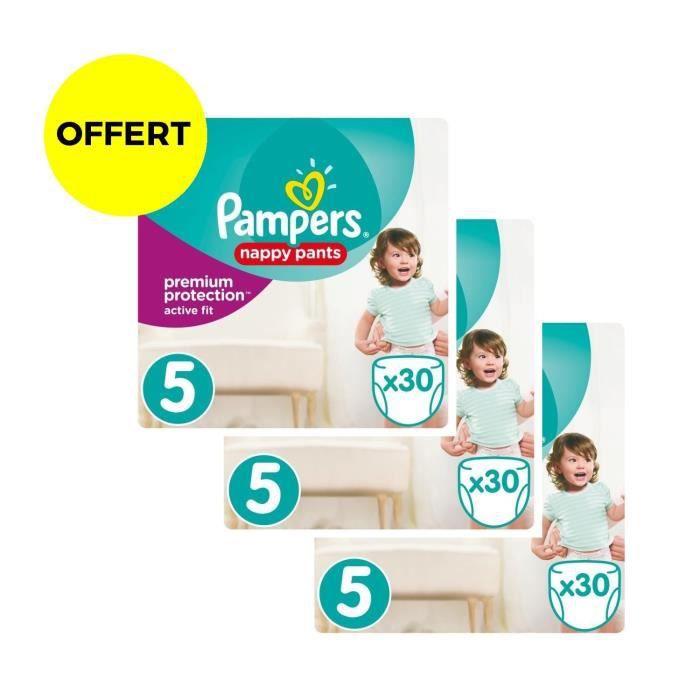 COUCHE PAMPERS ACTIVE FIT PANTS T5- lot de 3 Géants - 90