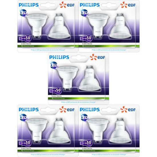 De Lot 10 Spot Avec En Ampoules 50w Led Partenariat Philips Edf Gu10 LA35cqRS4j