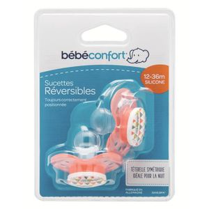 BEBE CONFORT Sucette Reversible Silicone 12/36m (x2) - Rouge Sport