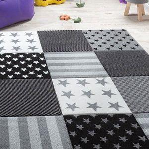 TAPIS STAR Tapis pour enfant 80x150 cm gris, noir et bla