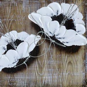 TABLEAU - TOILE FLOWER Tableau déco toile peinte à la main 35x35 c