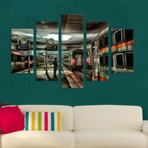 TABLEAU - TOILE Paris Train Station Split 5 Panels IMPRIMER Sur CA