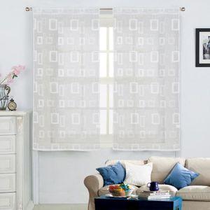 VOILAGE Paire de voilage vintage 2x60x120 cm blanc