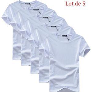 17bc986ac564 T-SHIRT Lot de 5 T shirt Homme uni XXXXXL basique Tee shir