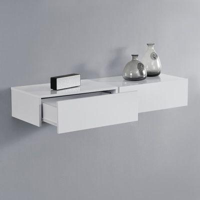 En Casa 2 Etageres Murales Pour Chambre A Coucher Avec 2 Tiroirs Blanc Laque 46x30x15cm