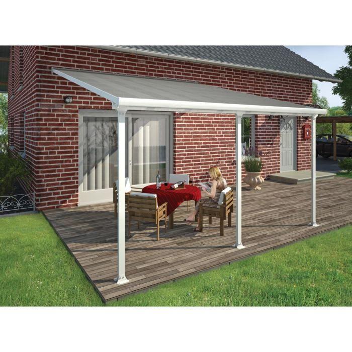 Structure en aluminium - Couverture en polycarbonate - Avancée de toit : 3 m - Dimensions : 420x300x290 cm.PERGOLA