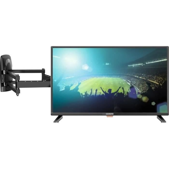 Oceanic tv led hd 80cm 31.5 3 ports hdmi 1.4 1 port usb 2.0 pvr ready meliconi mb200 pantograph support mural