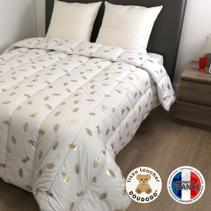 DODO Couette chaude 400 gr/m² COLETTE - 200x200 cm - Blanc imprimé Plumes dorées