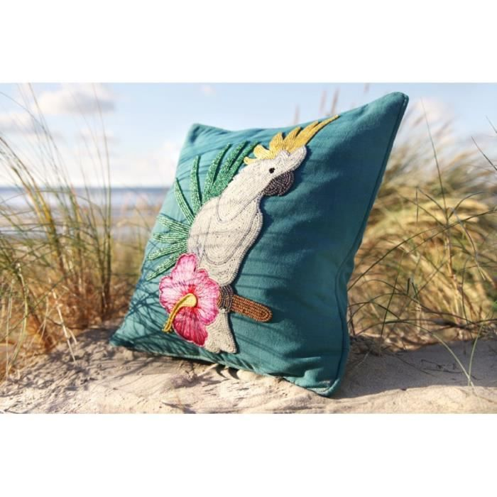 COUSSIN Housse+coussin cacatoes 40x40