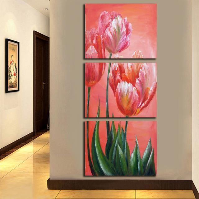 3 Pièces Europe Fleur Rose Pour La Peinture Acrylique Sur Toile