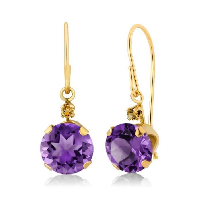 Womens 1.54 Ct Round Purple Amethyst Yellow Simulated Citrine 14k Yellow Gold Earrings WY9UL