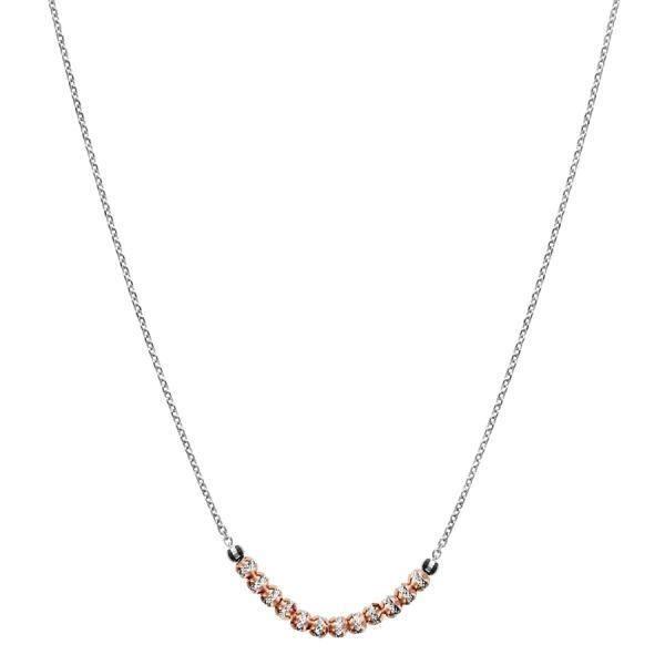 Collier Argent 925 Boules Diamantés Dorure Rose