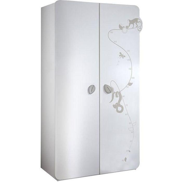 JUNGLE Armoire 2 Portes Blanc et taupe - Achat / Vente armoire ...