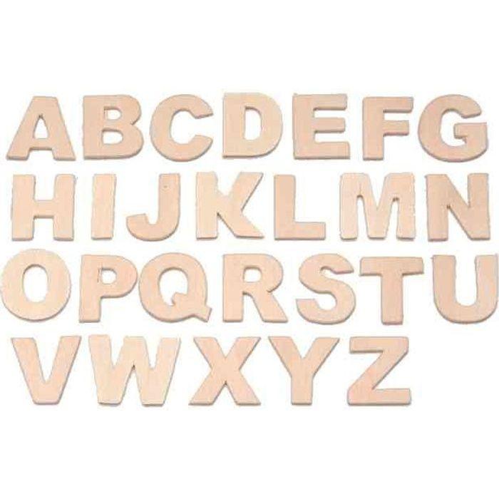 lettre en bois Set de lettres, en bois Lettres A Z. tailles: 25 m   Achat / Vente  lettre en bois