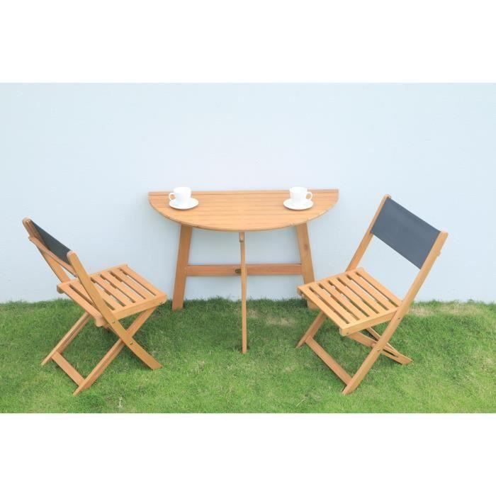Ensemble table 2 personnes et 2 chaises Noumea en eucalyptus - 100 x ...