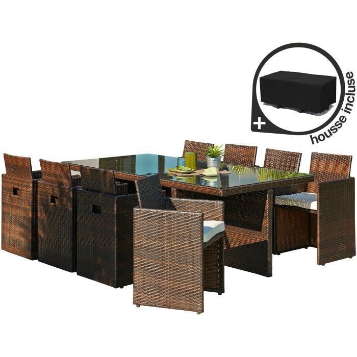 salon de jardin 8 places r sine tress e chocolat achat. Black Bedroom Furniture Sets. Home Design Ideas