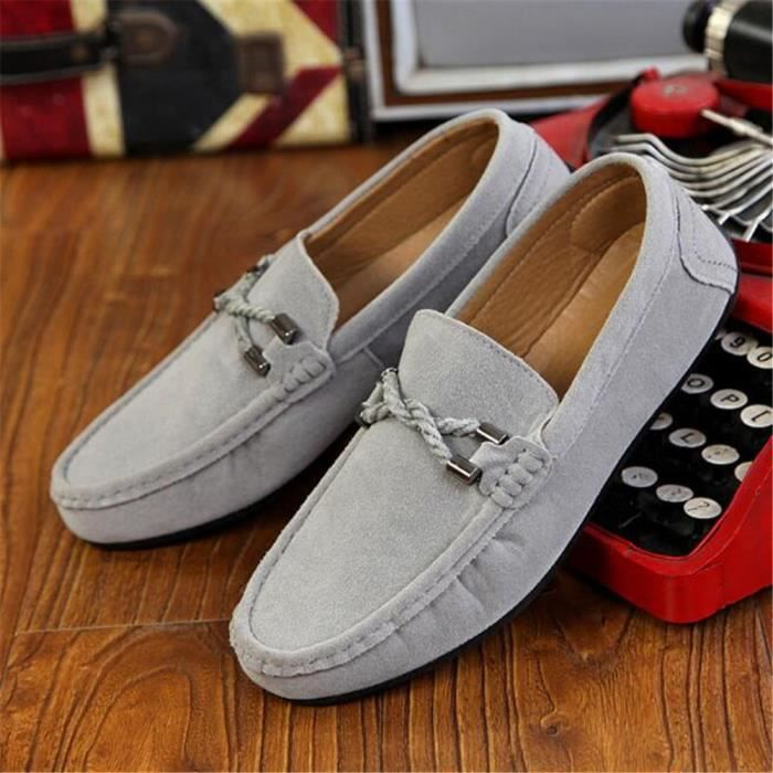 Moccasins homme Nouvelle Mode 2017 marque de luxe chaussure en cuir Grande Taille chaussures homme Respirant Poids Léger Loafer 44 IkYyogH