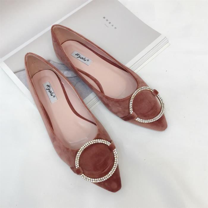 Dames chaussures plates talon plat sexy avec diamant en daim bout pointu chaussures pointues,marron,37