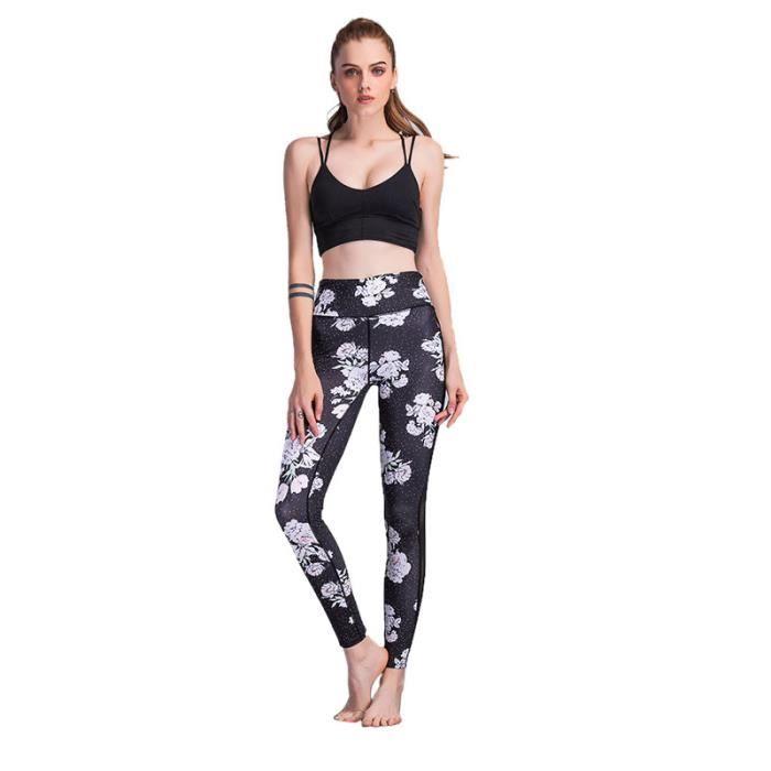 b2034060dbfa7 Nouveau Leggings Patchwork en maille imprime pour les femmes Leggins Imprime  a la Mode Sexy Slim Leggings de Fitness Elastique Pour