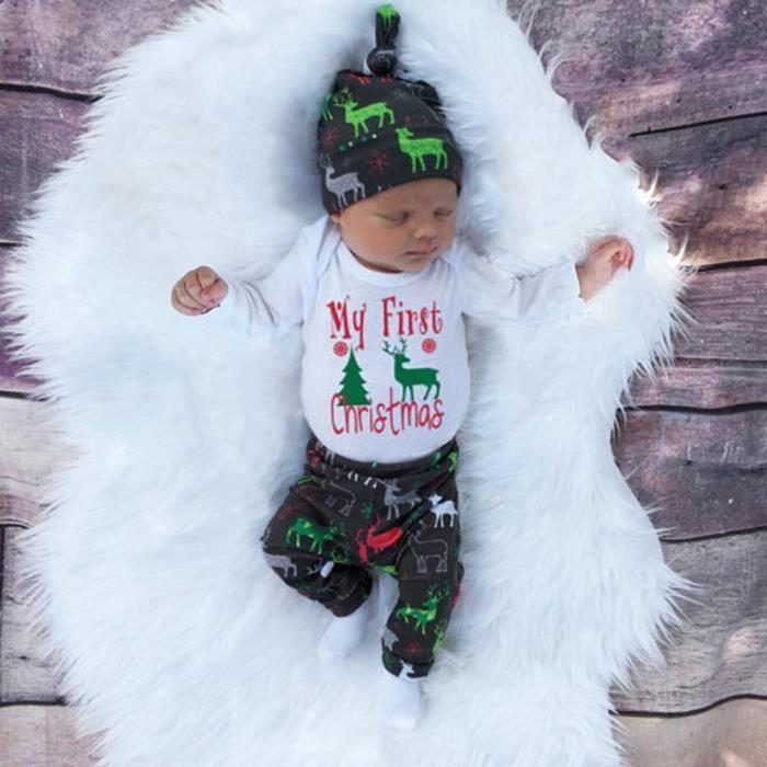 d756619253a18 Vêtements de filles+Noël nouveau-né bébé filles garçons tenues vêtements  3Pcs Deer barboteuse + pantalon + chapeau ensemble FOSE117