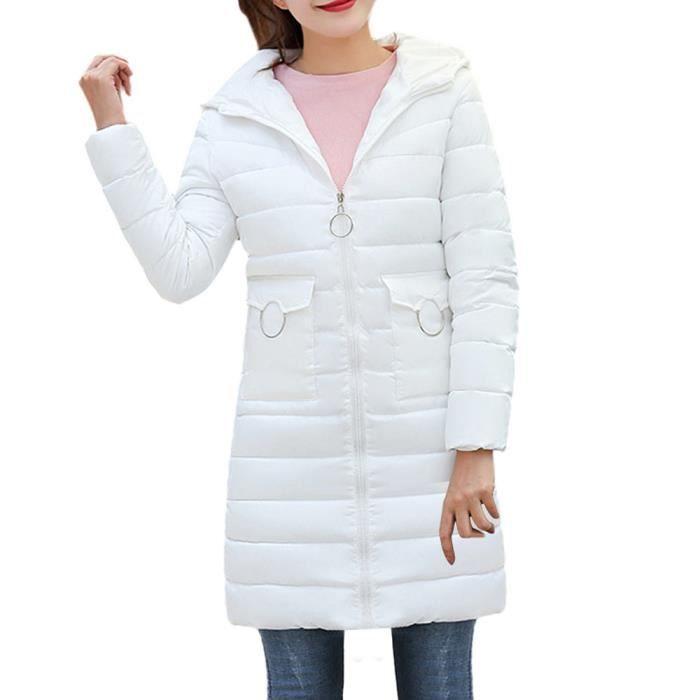 meilleures baskets 2c816 b03cd dedasing® femme manteau d'hiver chaud à capuchon épais chaud Veste Slim  long manteau blanc