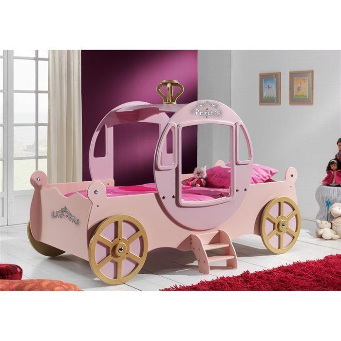 FUN BEDS Lit enfant carrosse enchanté rose/or - Achat ...