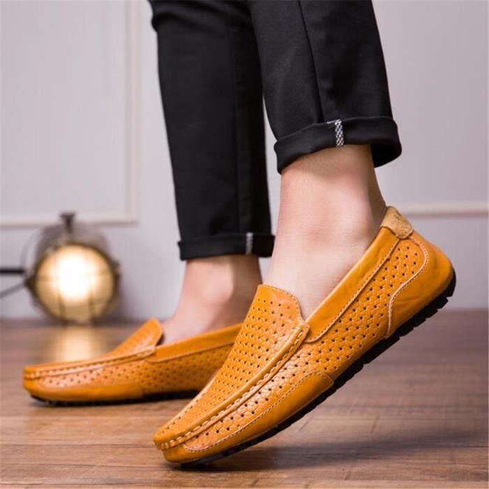 Moccasins Hommes Bleu De Grande Loafer Marque orange Ete marron Respirant Cuir Chaussure Perforé Homme 2017 En Mode Nouvelle Luxe Taille 8xrOwq8TAv