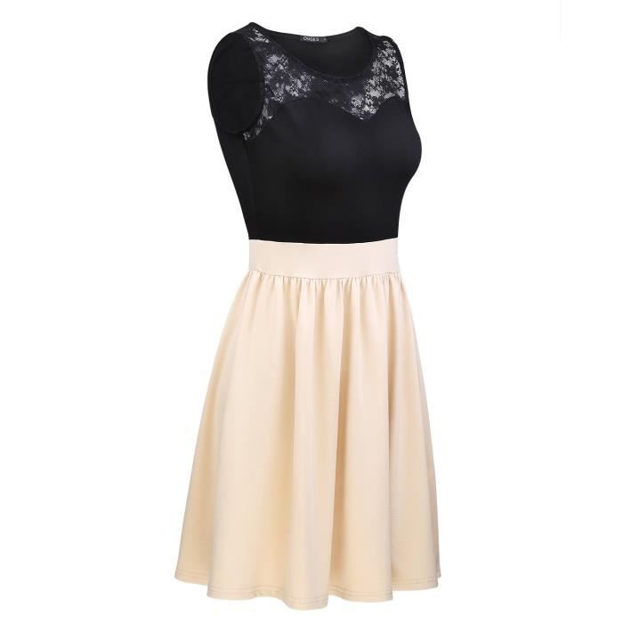 Womens Summer Sleeveless Lace Top A-line Pleated Cocktail Party Dress 2QWJ5O Taille-36