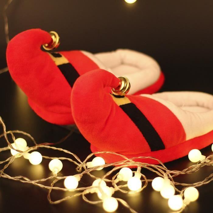 Hiver Pantoufles Pour Enfants Noël Garçon Fille Pantoufles En Peluche YLG-XZ135Rouge34 JlF2v