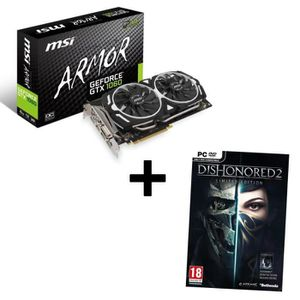 MSI Carte graphique GeForce? GTX 1060 ARMOR 6G OCV1 6Go GDDR5 + Jeu PC Dishonored 2 Limited Edition offert !