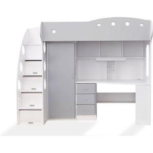 lit mezzanine avec armoire achat vente pas cher. Black Bedroom Furniture Sets. Home Design Ideas