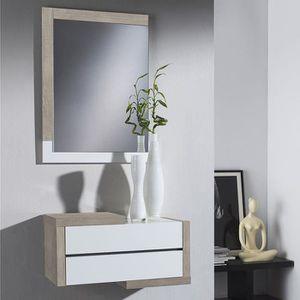 MEUBLE D'ENTRÉE Meuble d entrée moderne couleur bois clair et blan