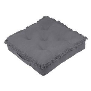COUSSIN Coussin de sol 45x45 cm Prague anthracite coton 45