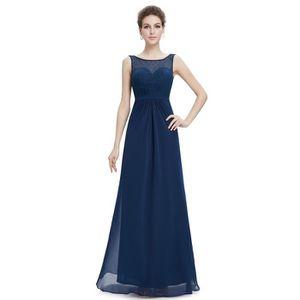 05b77fc2a04d0 Robe longue féminine de soirée bleue marine dentelle sans manche col bateau  sexy dos nu