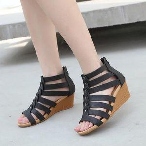 ESPADRILLE Bohême talons hauts sandales simples Chaussures Zi