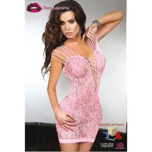 ROBE Robe nuisette résille transparente ultra sexy rose