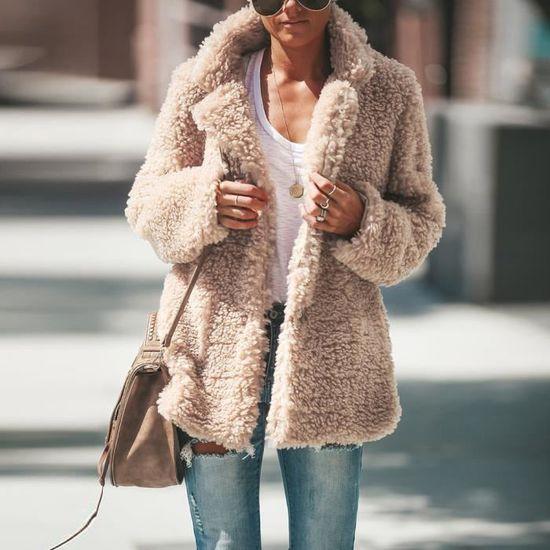 Hiver Décontractée Femmes Manteau Chaud Pardessus Couverture Outwear Beige Dames De Veste Parka Poil Exquisgift wt4q5RC