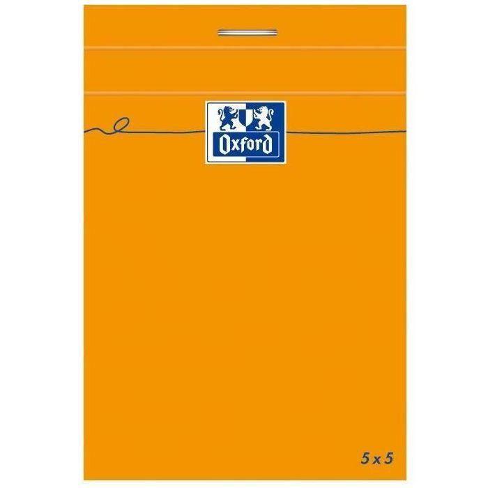 OXFORD Bloc-notes - Petits carreaux - 160 pages - Orange - 10,5 cm x 7,4 cm x 0,9 cm (Lot de 3)