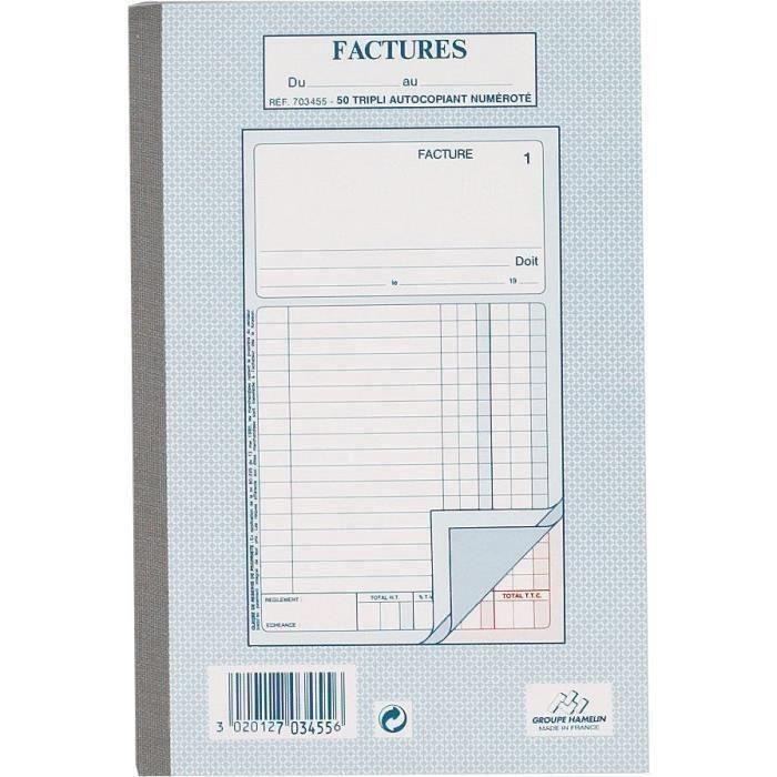 50 Feuilles de facture autocollantes - 21 cm x 14,8 cm x 0,9 cm - Petits carreaux (Lot de 3)