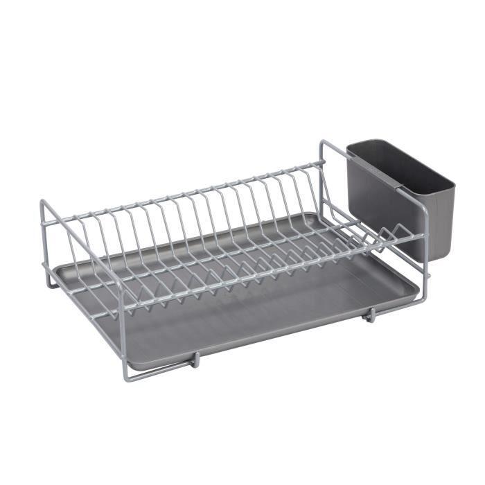 SAUVIC Égouttoir à vaisselle plastifié - Plat - Gris